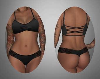 LACY ANN - black lace thong panties - ARIELA - scrunch front, criss cross back bralette