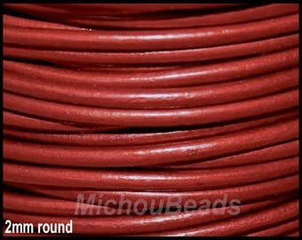 2 Yards 2mm Round LEATHER Cord - Metallic MOROCCAN Red 6 Feet Genuine Natural Lead free dye Indian Boho Wholesale Leather Cording USA - DSt