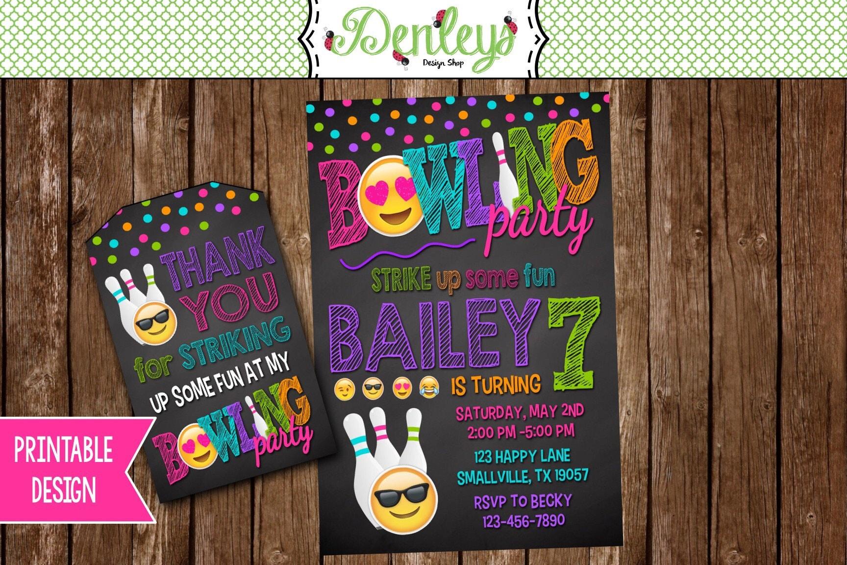Emoji Bowling Party Invitation Bowling Party Invitation – Order Party Invitations