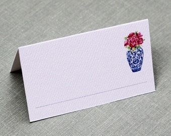 Place Cards with Blue and White Ginger Jar and Pink Peonies, set of 12