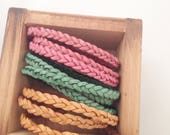 Braided Skinny Triple Leather Wrap Bracelet. Mint. Pink. Tan. Magnetic Clasp