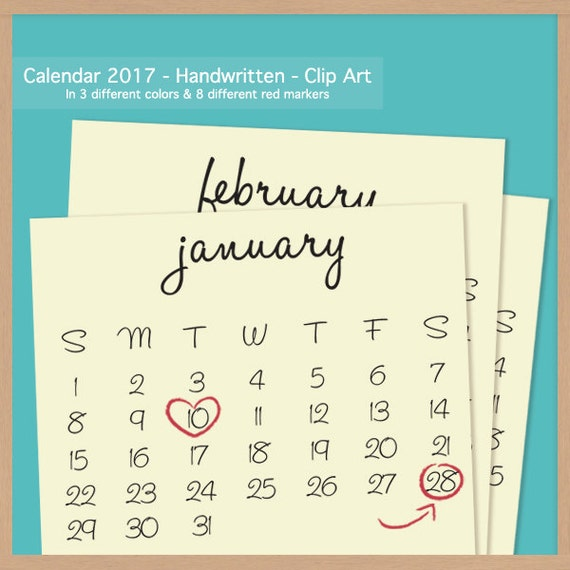 Monthly Calendar Clipart : Handwritten calendar scrapbook clip art printable