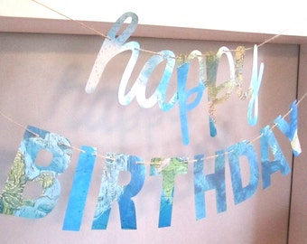 Happy Birthday Banner, World Theme Banner, Ocean Banner, Ocean Sea Theme, Real Maps,Map Theme Birthday Party, vintage maps, Map Birthday