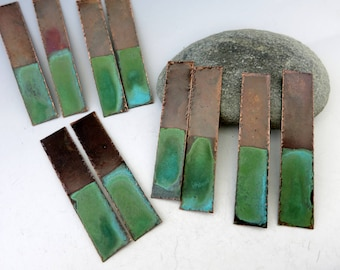 Verdigris Copper Earring Planks,  2 Inch x 10mm, Ready To Ship
