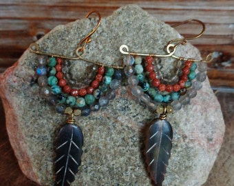 Trolly. Hammered Artisan Boho Gold Brass Earrings with Wire Wrapped Labradorite, Quartz, Turquoise, and Rusty Sandstone Gems-Horn Feather