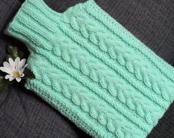Hand Knitted Mint Green Cabled Hot Water Bottle Cover/Cozy/Cosy