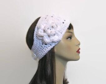 White Crochet Ear warmer Crochet Headband with Flower White knit Headband Crochet Headwrap white earwarmer Crochet ear warmer White Headwrap