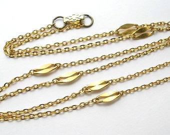 28 Inch Vintage Gold-Plated Cable Chain Necklace Chain