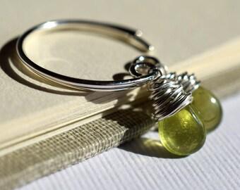 Green Vesuvianite Earrings, Moss Green Gemstone Earrings, Sterling Silver Open Hoops Earrings, Idocrase Earrings, Olive Green Gemstone Hoops