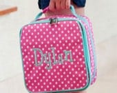 Personalized Lunch Bag ~ Personalized Lunch Tote ~ FREE Personalization ~ Girls Monogrammed Lunch Bag ~ Pink Dottie Lunchbox ~ Quick Ship
