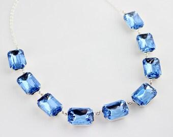 Light Sapphire necklace, octagon necklace, blue necklace, sapphire octagon necklace, matching set, blue wedding, Prom grad bridesmaid LS01