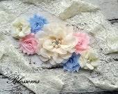 PINK BLUE Ivory Chiffon Flower Maternity Sash Belt - Pregnancy Photo Prop - Gender Reveal - Pregnancy Sash  - Twins Sash - Cream Sash
