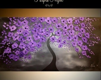 """SALE Oil Landscape Tree painting Abstract Original Modern 48"""" palette knife  Purple Night  oil  impasto oil painting by Nicolette Vaughan Ho"""