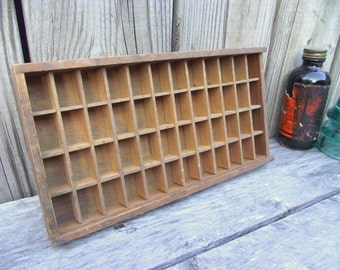 Letter Press Print Drawer Wood - 48 Compartments - Small insert tray - Linotype Tray - Display - Printers