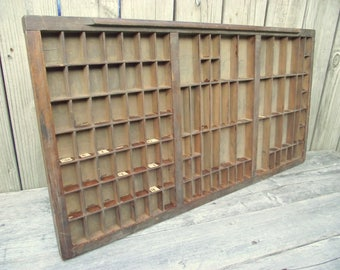 Mahogany Letter Press Print Drawer Wood - 103 Compartments - Linotype Tray - Display - Printers - Steampunk - #4