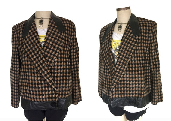 ADOLFO 80's Wool Leather Trim Boxy Checkered Brown Chic Blazer Jacket