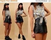 SALE 25%OFF 80s 90s Vtg Genuine Black LEATHER High Waist Micro Mini Skirt / Metal Double Zipper Sides Biker Skater Grunge Club Kid Goth Xxs