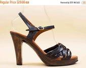 25% OFF 1DAY SALE Sale 70s Vtg Black Woven Leather & Faux Wood Platform Ankle Strap Sandals / Hippie Boho High Heels 7 7.5 8 Eu 37.5 38
