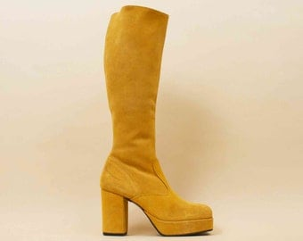 70s Vtg Mustard Yellow Italian Genuine SUEDE Leather Knee High Platform Chunky Heel Boots / GLAM GoGo Boho Hippie Deadstock NOS / 7.5 Eu 38