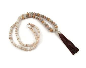 Shades of Neutral Tassel Necklace