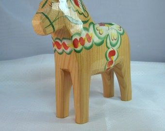 Hand Painted 6 inch Natural Wood Horse Sweeden Horse, Grannas Olssons