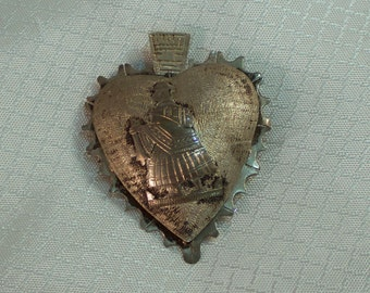 Vintage Peruvian Silver Heart Pendant/Brooch