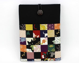 "iPad Pro 9.7"" Sleeve, Tablet Case, Gift Idea Under 25 Kimono Cotton Fabric Cats Black"
