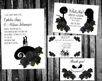 black roses the nightmare before christmas inspired wedding invitation save the date rsvp - Nightmare Before Christmas Wedding Invitations