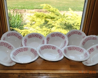 10 - Homer Laughlin Cereal or Soup Bowls Pattern Number HLC1085  Maroon Flowers with  Scalloped Edge