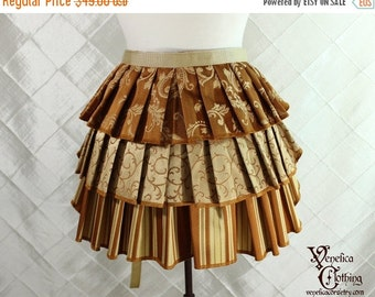 """10% OFF Ruffle Bustle Overskirt - 3 Layer, Sz. S - Pumpkin & Gold - Best Fits up to 42"""" Waist/Upper Hip -- Ready to Ship"""