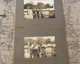 3 Young men in straw boater hats with puppies set of 2 1920s photos