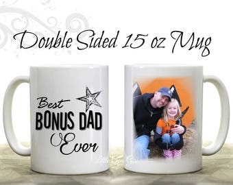 Custom Photo Stepdad Coffee Mug- Personalized Picture Stepfather Coffee Cup - Fathers Day Gift Best Bonus Dad Coffee Mug from Stepkids
