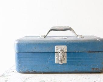 Industrial Metal Toolbox - Union Blue Aqua Blue Case Box Tool Tackle Box Tools Vintage Patina Blue Metal Ratrod Organizer Retro