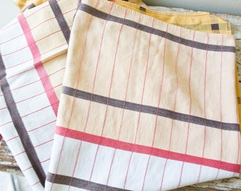Vintage Tablecloth - Checkered Red and Yellow Square Tablecloth Table Cloth Bright Tablecloth Bohemian Tablecloth