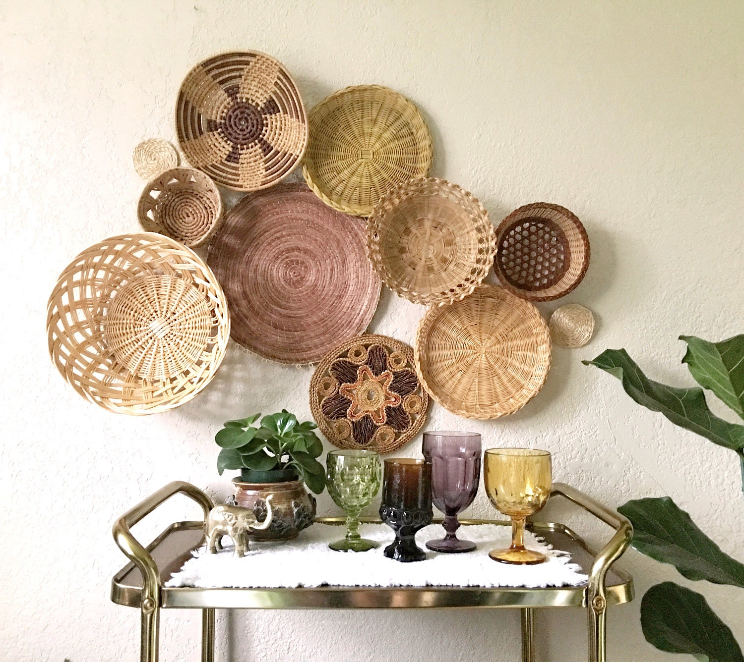 Woven basket wall collection