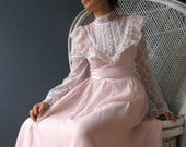 Reserved Reserved 70s Gunne Sax Pastel Pink White Lace Boho Maxi Dress Small