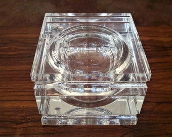 Iconic Alessandro Albrizzi Lucite Ice Bucket With Lucite Ice Cubes Barware Mid Century Modern Design Swivel Top Spherical Shape