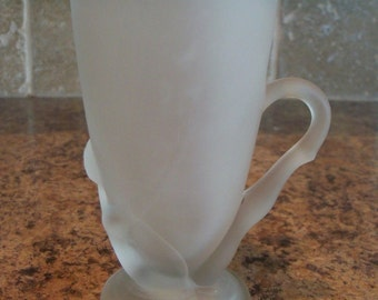 FREE USA Shipping Vintage McKee Frosted Glass Bottoms Down Mug with Patent Number 77725