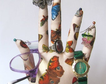 Colorful Butterfly Fabric Hand Jewelry Glasses Display POPULAR Style HAND-Stand