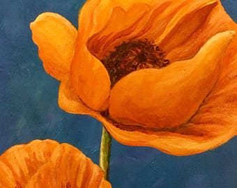 Orange Poppy Painting is a one of a kind acrylic