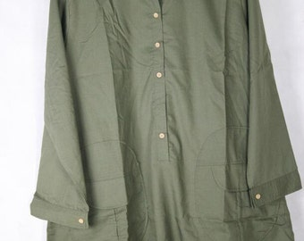 Women Loose Fitting Soft comfortable army green long shirt