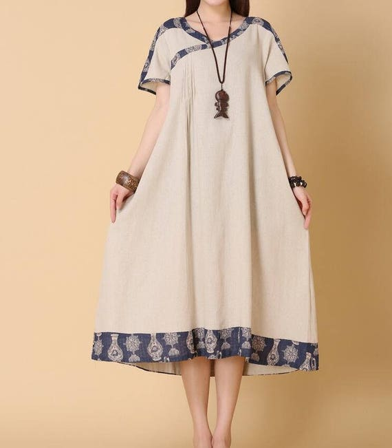 Linen color/ dark blue summer loose dress women loose fitting long Clothing