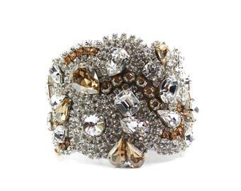Bridal Bracelet, Wedding Jewelry, Champange Bracelet, Golden Champange Crystal Cuff Hollywood Style. Champagne Swarovski Crystal Breacelet