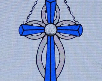 Stained Glass Cross - 10 in. tall - Blue with jewel center