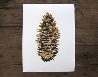 Forest Pinecone Wall Art Print - Black and Bronze Linocut