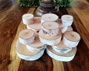 15 Various sizes THICK Birch tree slices -  DIY projects- Picture frames - Fake Fireplace - Birch logs - Wood tree slices - supplies