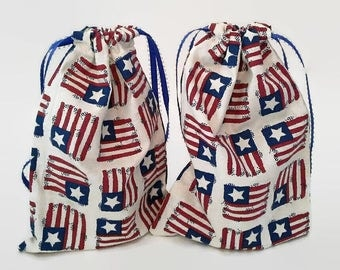 2 Patriotic Flag Red, White and Blue Drawstring Fabric Gift Bag Upcycled, Reusable, Sustainable