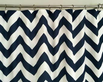 Navy Blue and White Chevron Curtains - Rod Pocket - 63 72 84 90 96 108 or 120 Long by 24 or 50 Wide