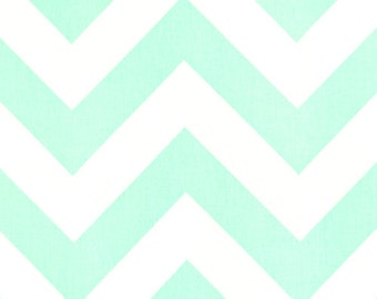 Pale Green Mint White Chevron Curtains Zippy  Rod Rocket  63 72 84 90 96 108 120 Long x 25 or 50 Wide