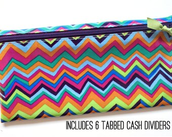 Envelope system cash budget wallet with 6 tabbed dividers | multicolor zigzag chevron laminated cotton